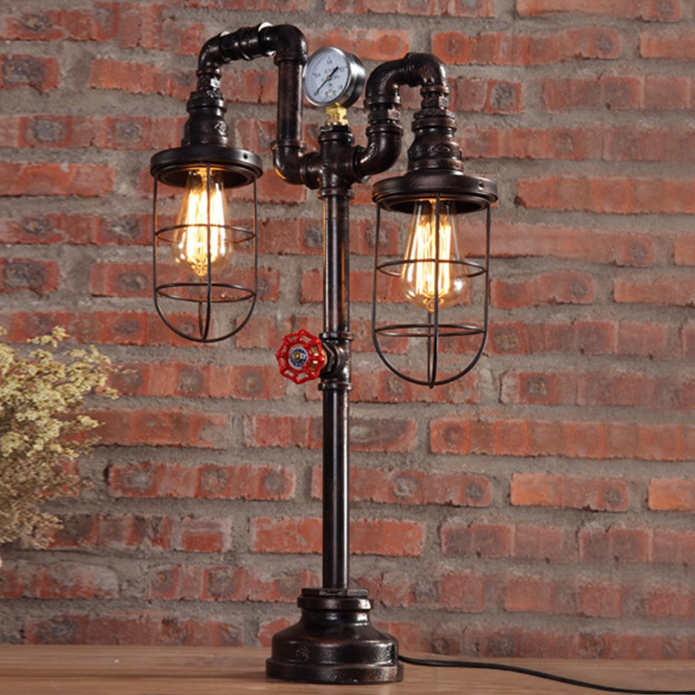 "Vintage Table Lamp Lighting, MKLOT Ecopower Plug-in Retro Industrial Iron Pipe Table Lamp 15.35""x25.59"" Edison Desk Accent Lamp Light For Bar Salon Living Room Bedroom 2-Lights"