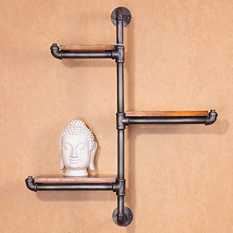WSSF- Scaffale per libri Mensole di tubo di ferro stile retrò industriale mensola creativa scaffale da parete villaggio pensile vecchio tubo di acqua, 70 * 85 centimetri