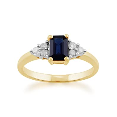Gemondo Sapphire Ring, 9ct Yellow Gold 0.88ct Octagon Blue Sapphire & Diamond Ring