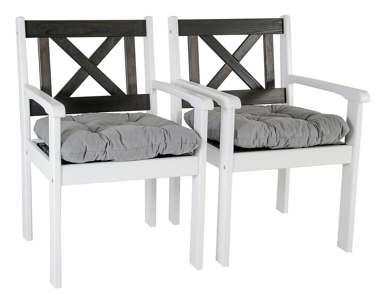 GARDENho.me 2er Set Massivholz Sessel Gartenstuhl Stuhl EVJE inkl. Kissen Weiß/Taupegrau online bestellen