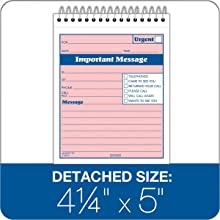Adams While You Were Out Pad , 4 x 5.5 Inch, Spiral Bound, 2-Part, Carbonless, Pink and Canary (SC9711D)