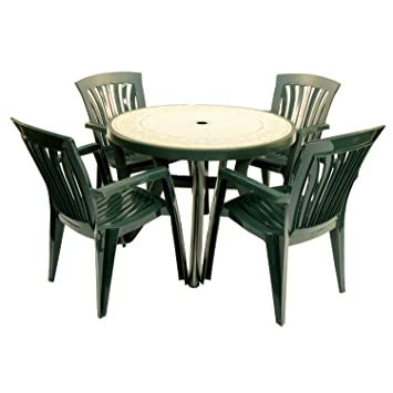 EUROPA LEISURE NARDI ZN/GT100R-04GDIS 100 cm Toscana Ravenna Table with 4 Diana Chair Set - Forest Green