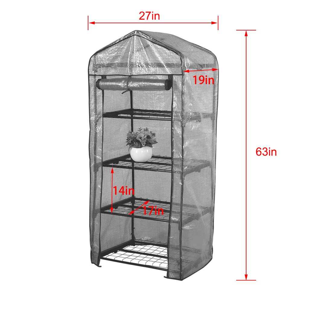 "Sundale Outdoor Gardening Portable Mini Green House with 4 Tier and PVC Cover, Waterproof Hot Green House, 27""(L) x 19""(W) x 63""(H)"