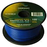 Harmony Audio HA-PW18BLUE Primary Single Conductor 18 Gauge Blue Power or Ground Wire Roll 100 Feet Cable for Car Audio/Trailer/Model Train/Remote