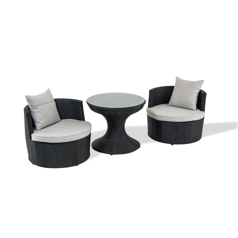 Bistro-Set rund, schwarz, 3-tlg inkl. graue Auflagen bestellen