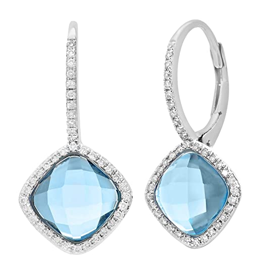 Naava 9 ct White Gold Diamond and 3.75ct Cushion Cut Clue Topaz Gemstone Drop Earrings