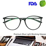 Computer Reading Glasses Blue Blocking Light Weight Round Women Anti Eye Strain (Black, 0.25) (Color: Black, Tamaño: Suitable for middle and big face)