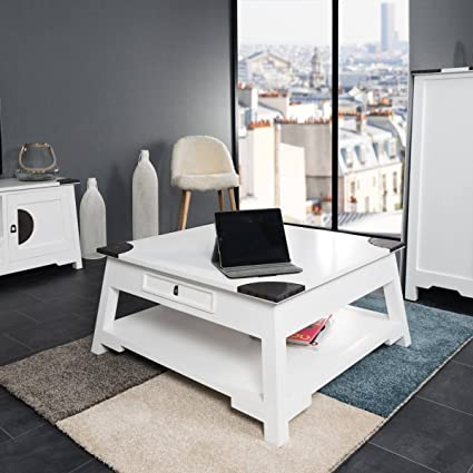 Table basse de salon en acajou Thao blanc 85
