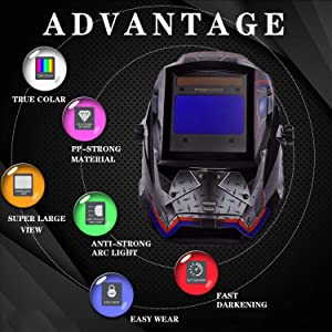 Large Viewing Screen 3.9X2.4 True Color Solar Power Auto Darkening Welding Helmet, 4 Arc Sensor Wide Shade 4/5-9/9-13 for TIG MIG Arc Weld Grinding Welder Mask Robot Design (Color: Robot Designed)