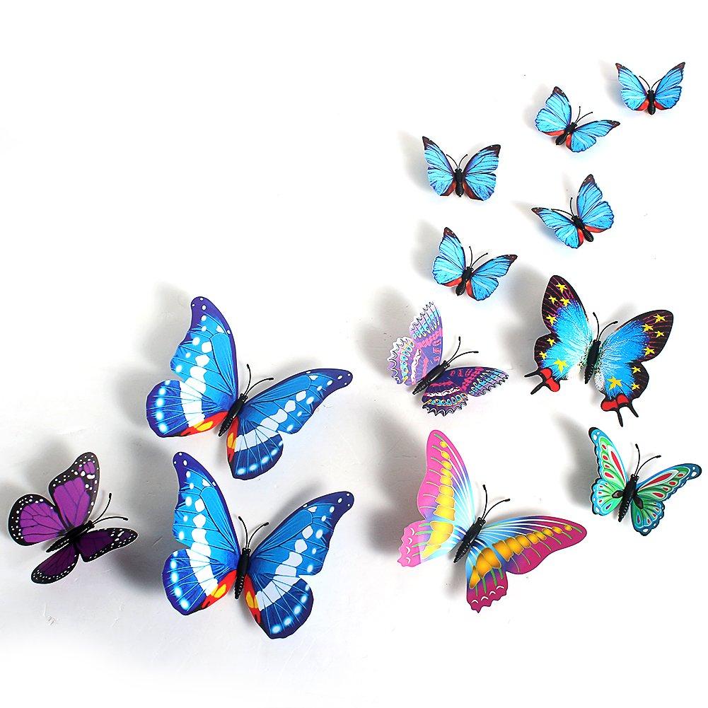 Wuiyepo Muro 12PCS 3D Butterfly Sticker Decal PVC Arte Pegatinas Decoración (Blue)   Comentarios de clientes y más Descripción