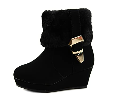 Youth Fur Boots Fur High Heel Wedge Boots