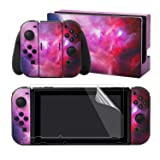 eXtremeRate Full Set Faceplate Skin Decal Stickers for Nintendo Switch/NS with 2Pcs Screen Protector (Console & Joy-con & Dock & Grip) (Folded Galaxy) (Color: Folded Galaxy)