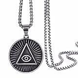 Elfasio Mens Stainless Steel Pendant Necklace Illuminati The All-seeing-eye illunati pyramid/eye symbol Chain 20