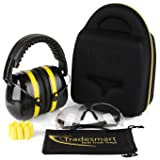 TRADESMART Shooting Ear Muffs, Protective Case, Gun Safety Glasses & Earplugs - UV400 Anti Fog & Anti Scratch with Microfiber Pouch   Gun Range Ear Protection & Eye Protection for Shooting (Color: Citron yellow)