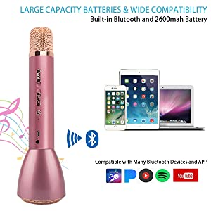 Microphone for Kids,Wireless Karaoke Microphone, Portable Bluetooth