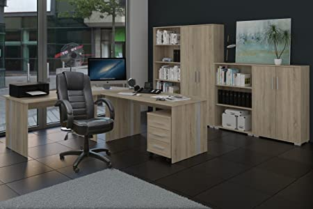 Buromöbel, Arbeitszimmer Phoenix 9-teilig Sonoma Eiche Dekor