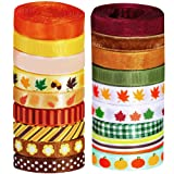 Supla 18 Rolls Fall Ribbons Bulk Trims Printed Grosgrain Ribbons Multicolor Satin Ribbons Organza Ribbons Velvet Ribbon 3/8