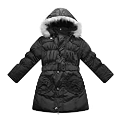 Richie House Girls Padded Jacket with Pockets Belt and Fur Hood