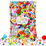 Caydo 2200 Pieces Fuzzy Assorted Pompoms Include 200 Pieces Wiggle Eyes, Multicolor Glitter Pom Poms for Hobby, DIY, Creative Crafts Decorations