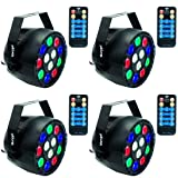 LED Stage Lights Marygel 12 Led Par Lights RGBW DMX Color Mixing Stage Up Lighting with Remote (4 Pieces) (Color: Stage Light)