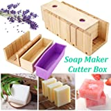 Pure Vie Adjustable Bamboo Soap Mold Loaf Cutter Mold Set (Large Size) + 1 pc Rectangle Soap Silicone Loaf Mold Wood Box for 42oz Soap Cake Making Supplies - Handmade Craft Soap Making Kitchen Tool (Color: #2)
