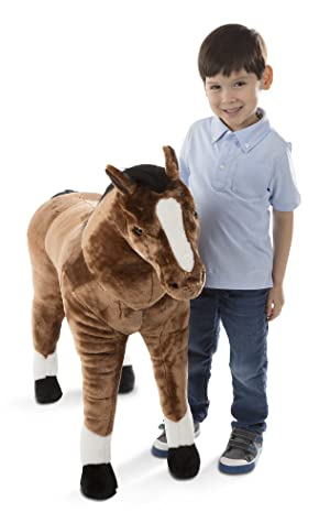Melissa & Doug Giant Horse - Lifelike Stuffed Animal (Nearly 3 Feet Tall, Great Gift for Girls and Boys - Best for 3, 4, 5, and 6 Year Olds) (Color: Brown, Tamaño: Giant)