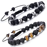 LYLYMIMI 2Pcs Tiger Eyes Black Bead Bracelet for Men Meditation Spiritual Bracelets