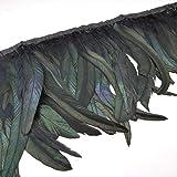 Natural Rooster Tail Feathers Fringe Trim (Black) (Color: Black)