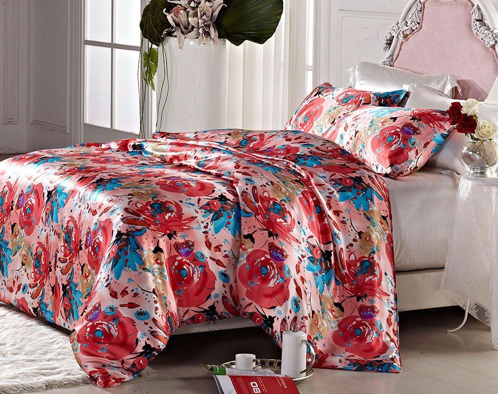 Orifashion Luxury 5 Pieces 100% Silk Charmeuse Bedding Set, Colourful Printed Floral Pattern (Model BSSJSL002), California King Size