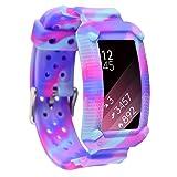 Moretek Silicone Bracelet Solved Stitching Problem Replacement Band Strap for Samsung Gear Fit2 / Gear Fit 2 Pro Tracker Smartwatch (NewGraffiti) (Color: NewGraffiti)