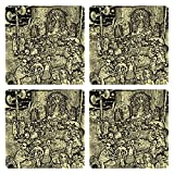 Posterboy The Alien Durga Puja MDF Coaster Set, Set Of 4, 101mm, Multicolor