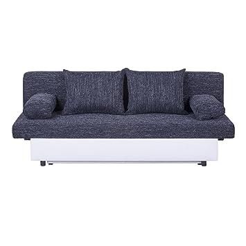 Schlafsofa Schlafcouch Sofa ZOE 2-Sitzer, in schwarz mit Bettkasten und Kissen, Kunstlederbezug und Strukturstoff