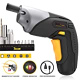Cordless Screwdriver, Electric Screwdriver Rechargeable, 4V 2000mAh Li-ion, MAX Torque 4Nm - Dual LED, Palm-Sized, Various Bits, Power Indicator, USB Charging with Cable -TDSC02P (Color: Cordless Screwdriver)