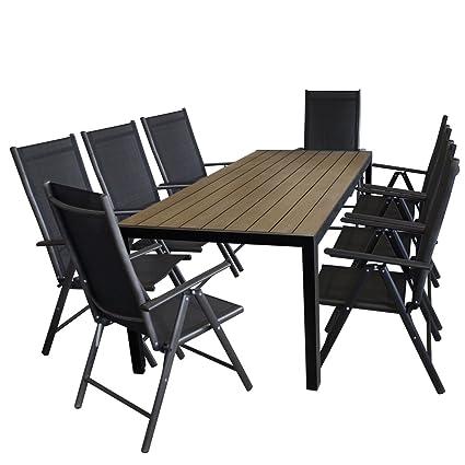 9tlg Sitzgarnitur Alu Gartentisch mit Polywood Tischplatte in Braun, 205x90cm + 8x Aluminium Hochlehner, 7-fach verstellbar, Textilenbespannung schwarz - Gartenmöbel Set Gartengarnitur Sitzgruppe