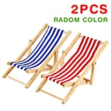 2PCS 1:12 Miniature Dollhouse Foldable Wooden Beach Chair Chaise Longue Toys with Stripe Red/Blue - House Outdoor Furniture Accessories (Color: Blue)