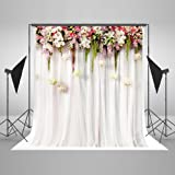 Kingsky 5x7ft(1.5x2.2m) White Wedding Photography Backdrops No Wrinkles Cotton Photo Booth Backgrounds (Color: RJ-j04272)