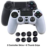 PS4 Controller Skins - Silicone Covers for DualShock 4 - Anti-slip Protector Case Set for Sony PS4, PS4 Slim, PS4 Pro 2 PS4 Controller Skins - 4 Pairs PS4 Thumb Grips - Black & White (Color: Black+White)