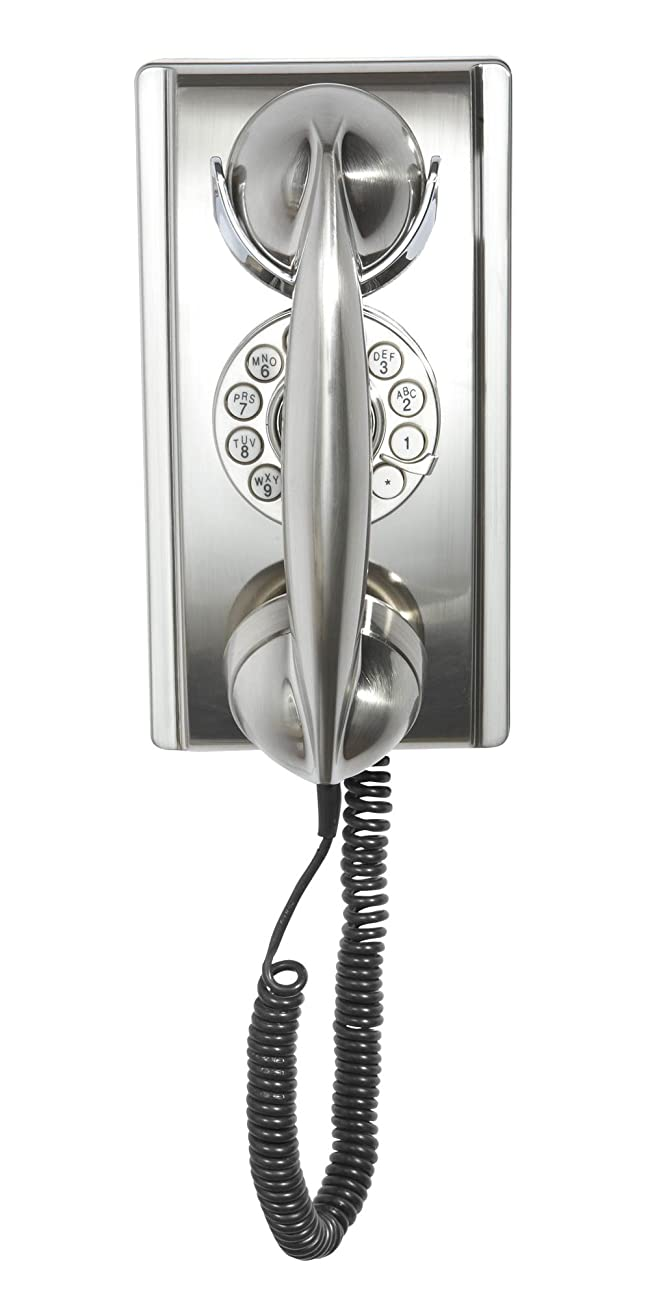 Crosley CR55-BC Wall Phone with Push Button Technology, Brushed Chrome 1