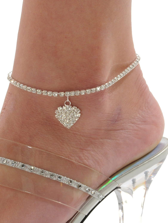 Rhinestone Stretch Anklet Bracelet Heart Charm Austrian Crystal Ankle Clear  rhinestone palm charm bracelet