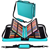 Shulaner 180 Slots PU Leather Colored Pencil Case Organizer Large Capacity Carrying Bag for Prismacolor Watercolor Pencils, Crayola Colored Pencils, Marco Pens, Gel Pens (Lake Blue, 180) (Color: Lake Blue, Tamaño: 180)
