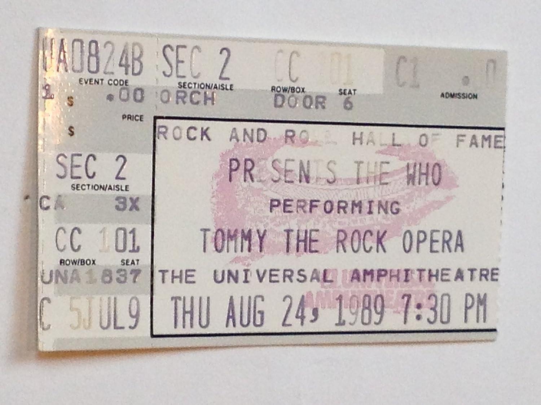 The Who Universal City, CA 8/24/89 Ticket Stub ca fi dl695800 0056 dashlinq universal