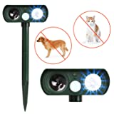 APlus+ Dog Cat Repellent, Ultrasonic Pest Repellent with Motion Sensor and Flashing lights Outdoor Solar Powered Waterproof Farm Garden Yard repellent, Cats, Dogs, Foxes, Birds, Skunks, Rod (Color: Green)