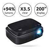 ExquizOn (New Model for World Cup 2018) Projector +94% Brighter X3.5 Clearer Utral HD projector 3500 Lumens 1280 x 800 Support 1080P with HDMI USB AV Interfaces for Home Cinema Game Movie (Q7) (Tamaño: Q7 Black)