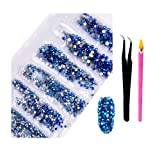 2800Pcs Nail Art AB Crystal Rhinestones - Top Quality Flatback Glass Nail Jewelry Gems Stones with Wax Rhinestone Pen And Tweezers for Nails Decoration Eye DIY Makeup Clothes Shoes (Blue AB) (Color: Blue AB, Tamaño: one size)
