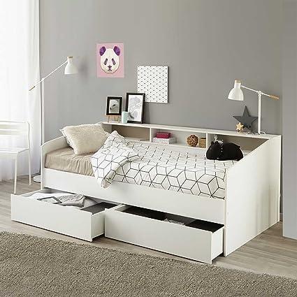 Bett in Weiß mit Regalfächern Bettkasten Ja Pharao24