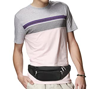 1421f091207f9 Fanny Pack 5-Zipper Pockets Waist Bag Belt Nylon Multifunctional for Women  Men Water Proof Waist ...