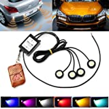 Car Light, Dacawin 4x3W Strobe Flash Eagle Eye LED Car Light Lamp+Wireless Remote Control (Black) (Color: Black)