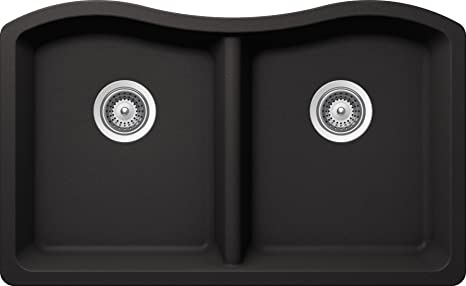 SCHOCK ASHN200U013 ASH Series CRISTALITE 50/50 Undermount Double Bowl Kitchen Sink, Nero