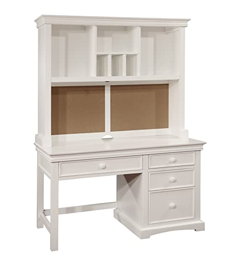 Bolton Furniture 865055500 Cambridge Pedestal Desk with Hutch Set, White