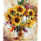 CaptainCrafts New DIY Oil Painting Paint by Numbers Kit 16x20  for Adult Beginner Kids, Linen Canvas New Year Home House Decor - Sunflower Oil Painting (with Frame) (Color: With Frame)